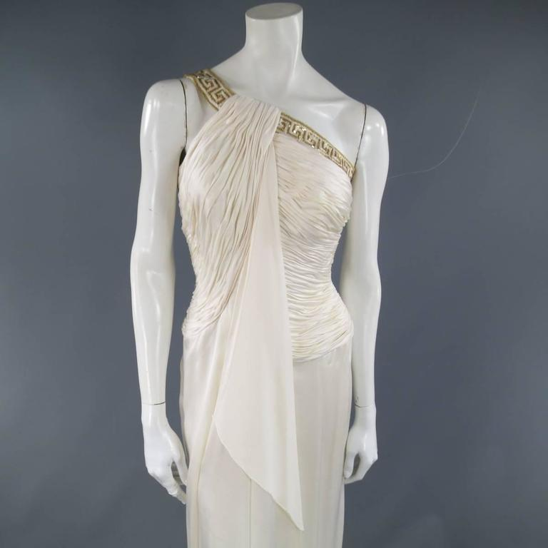 MICHAEL CASEY Size 6 Cream Pleated One Shoulder Gold Beaded Grecian Gown 2