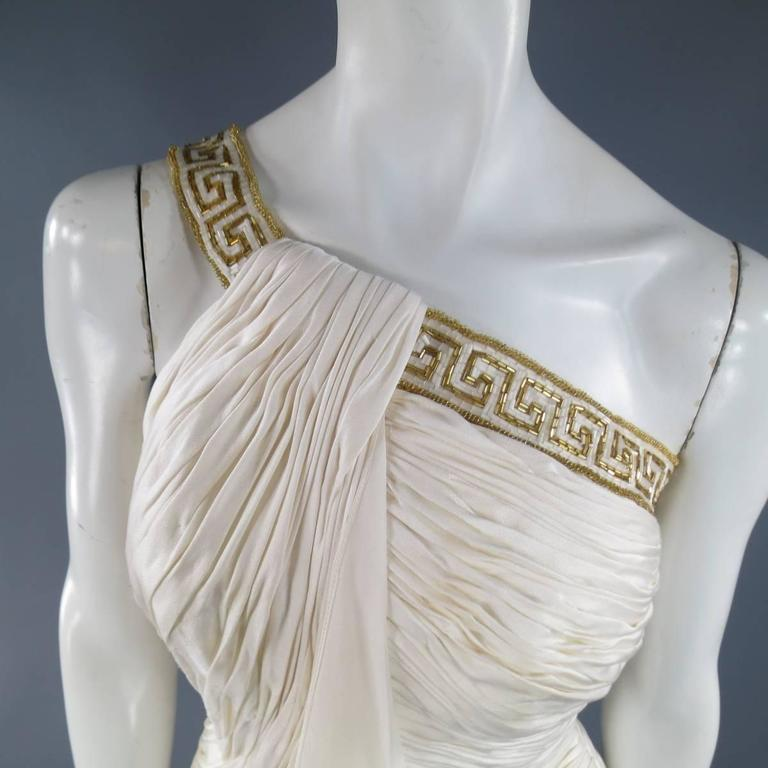 MICHAEL CASEY Size 6 Cream Pleated One Shoulder Gold Beaded Grecian Gown 3
