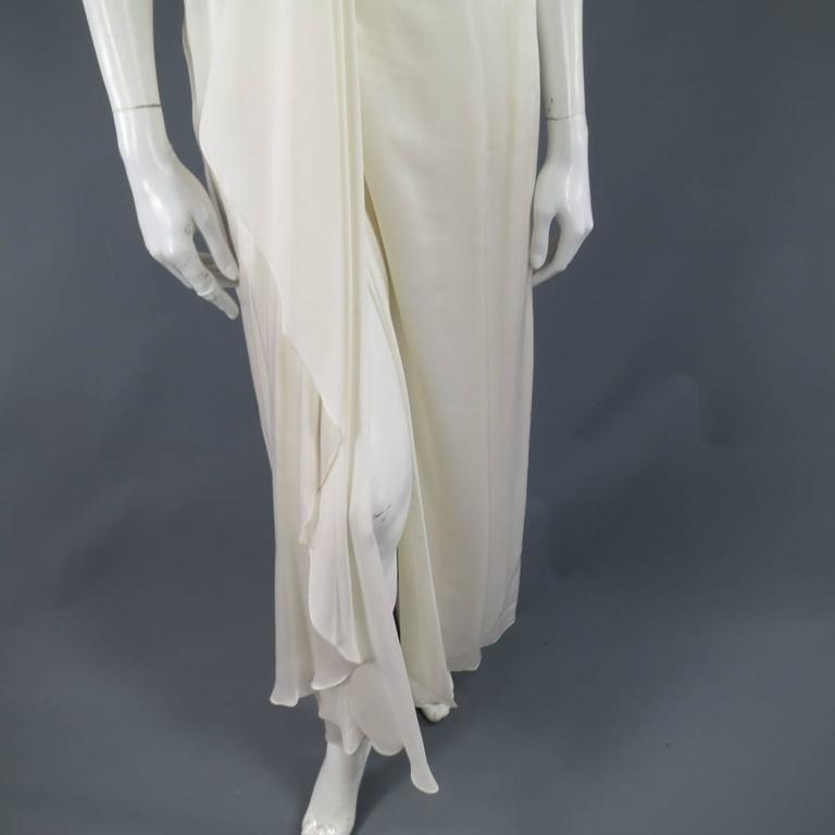 MICHAEL CASEY Size 6 Cream Pleated One Shoulder Gold Beaded Grecian Gown 5