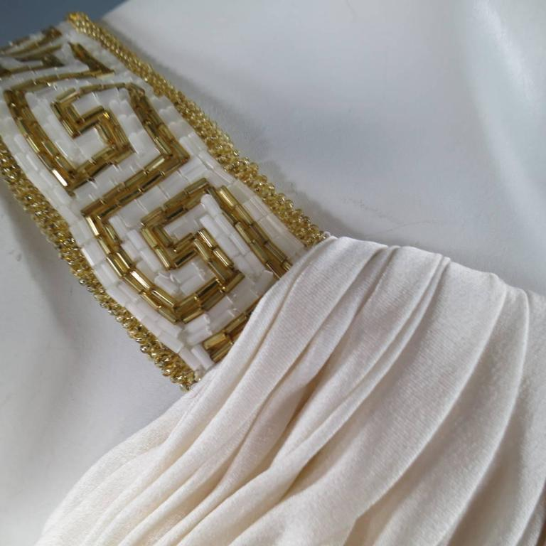 MICHAEL CASEY Size 6 Cream Pleated One Shoulder Gold Beaded Grecian Gown 4