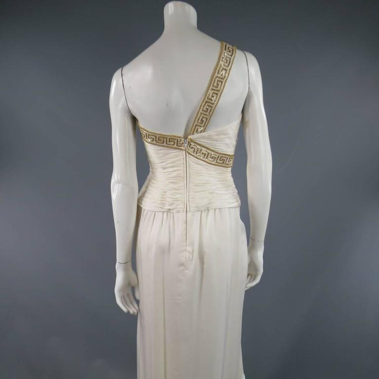 MICHAEL CASEY Size 6 Cream Pleated One Shoulder Gold Beaded Grecian Gown 8