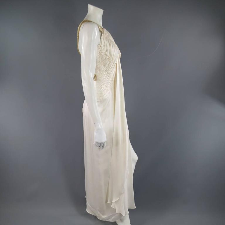 MICHAEL CASEY Size 6 Cream Pleated One Shoulder Gold Beaded Grecian Gown 6