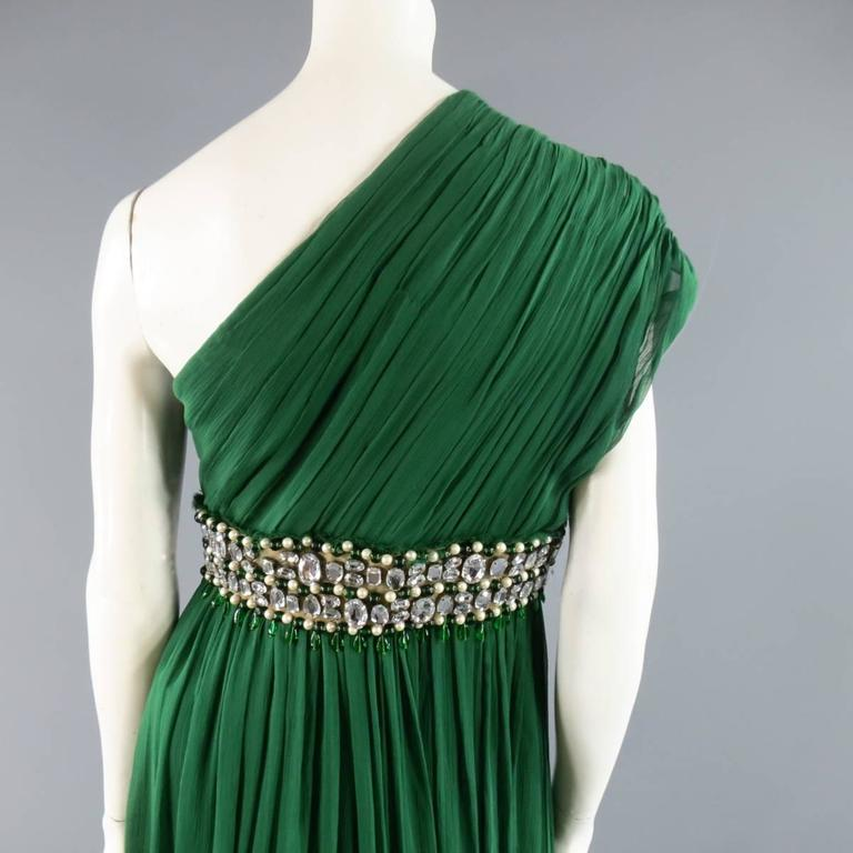 NAEEM KHAN Size 8 Emerald Green Silk Onse Shoulder Crystal Waist Evening Gown 6