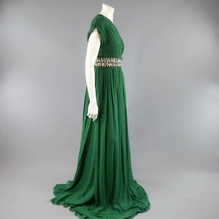 NAEEM KHAN Size 8 Emerald Green Silk Onse Shoulder Crystal Waist Evening Gown 5