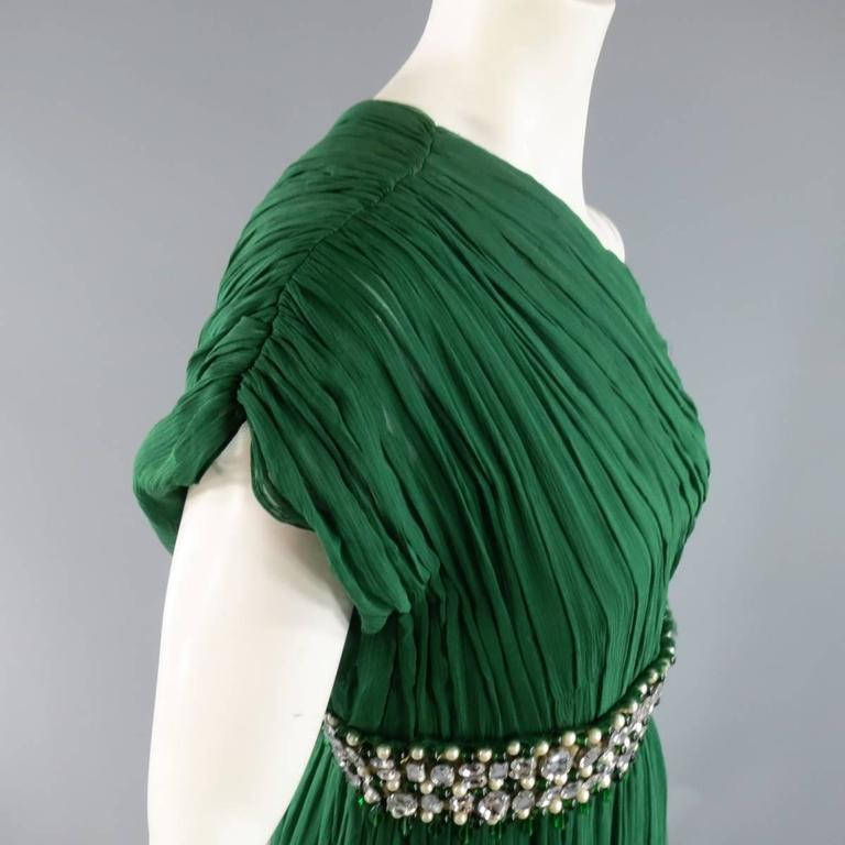 NAEEM KHAN Size 8 Emerald Green Silk Onse Shoulder Crystal Waist Evening Gown 4