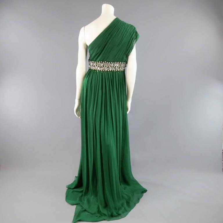 NAEEM KHAN Size 8 Emerald Green Silk Onse Shoulder Crystal Waist Evening Gown 7