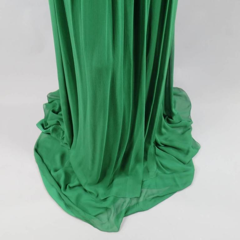 NAEEM KHAN Size 8 Emerald Green Silk Onse Shoulder Crystal Waist Evening Gown 8