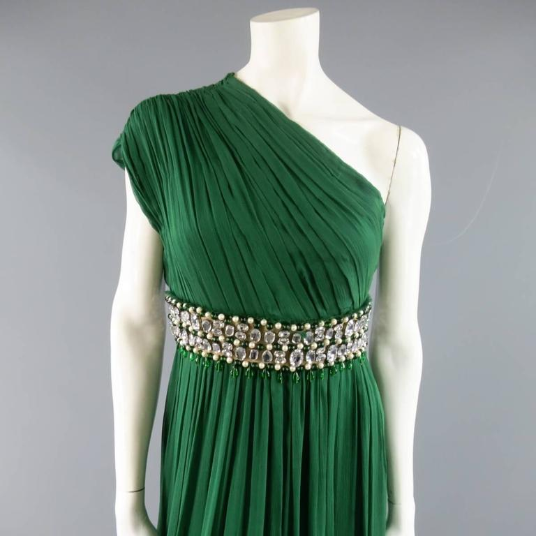 NAEEM KHAN Size 8 Emerald Green Silk Onse Shoulder Crystal Waist Evening Gown 2