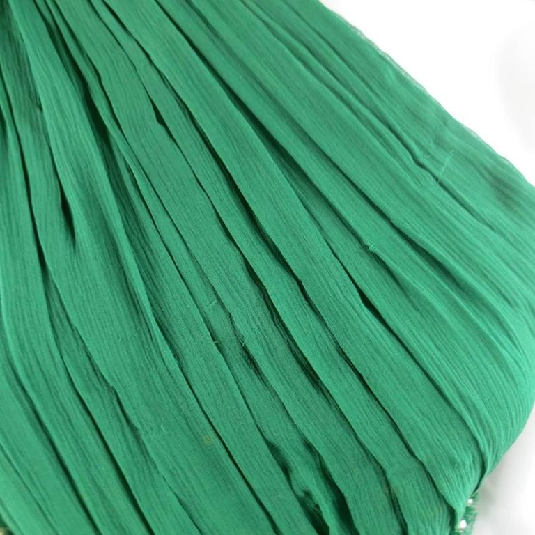NAEEM KHAN Size 8 Emerald Green Silk Onse Shoulder Crystal Waist Evening Gown 9
