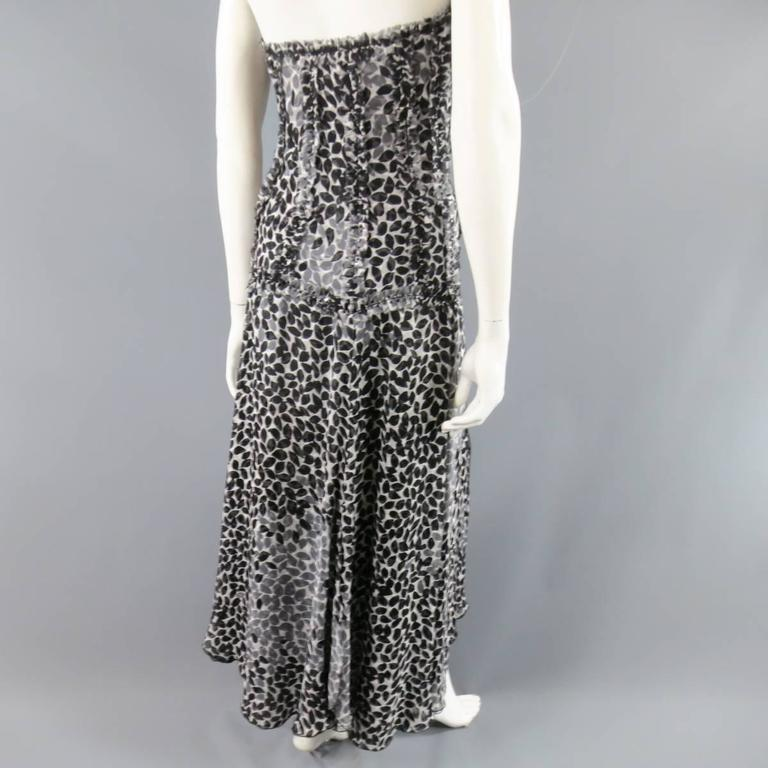 LIANCARLO Size 8 Black & White Printed Silk Raw Edge Sequin Bustier Evening Gown 7