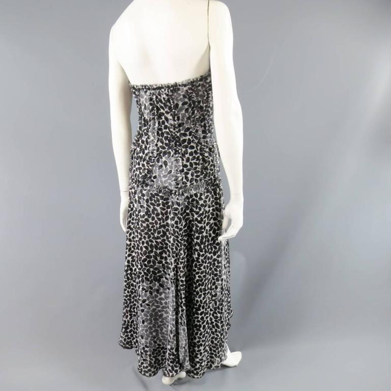LIANCARLO Size 8 Black & White Printed Silk Raw Edge Sequin Bustier Evening Gown 8