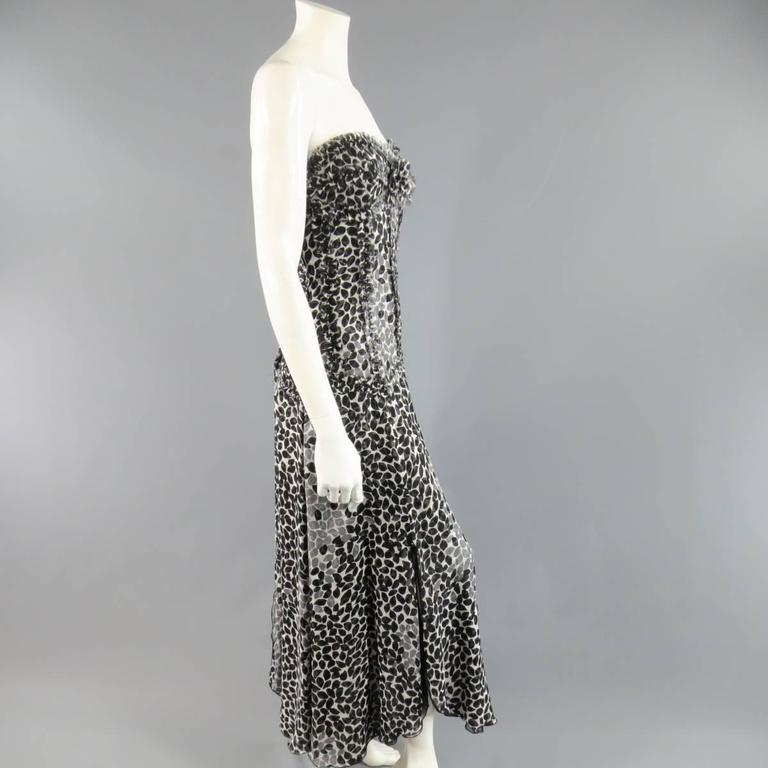 LIANCARLO Size 8 Black & White Printed Silk Raw Edge Sequin Bustier Evening Gown 6