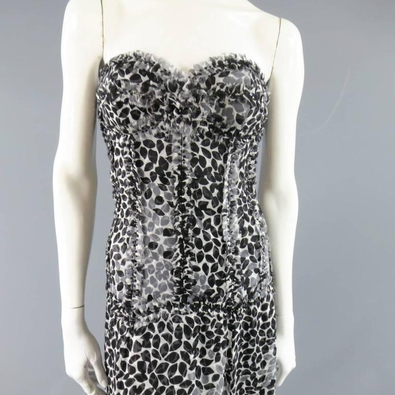 LIANCARLO Size 8 Black & White Printed Silk Raw Edge Sequin Bustier Evening Gown 2