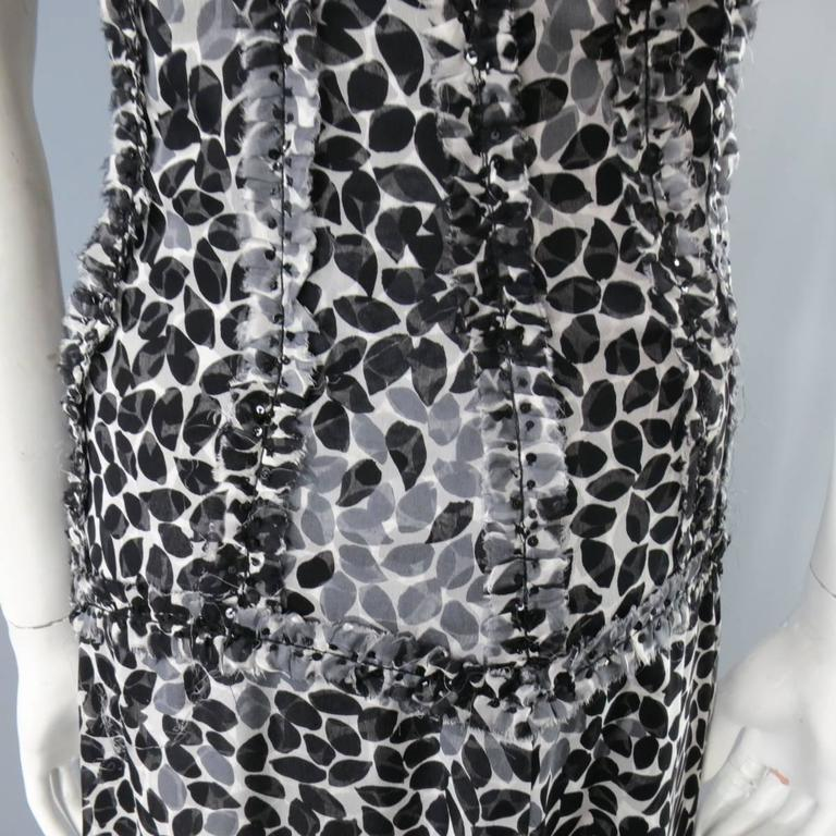 LIANCARLO Size 8 Black & White Printed Silk Raw Edge Sequin Bustier Evening Gown 4