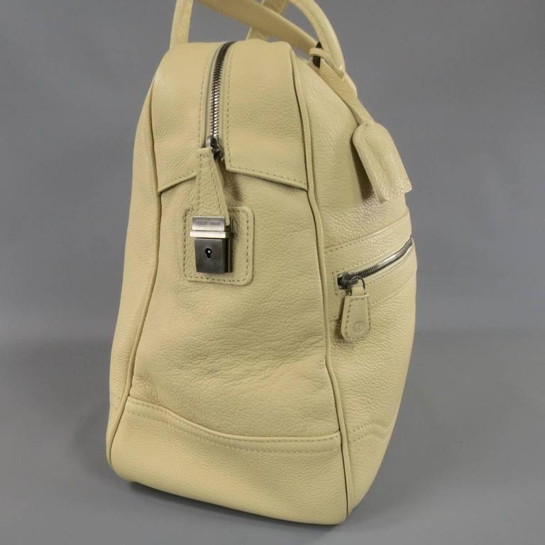 Giorgio Armani Beige Pebbled Leather Large Top Handles Lock Bag In Excellent Condition For Sale In San Francisco, CA