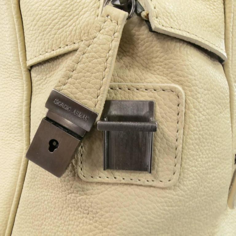 Giorgio Armani Beige Pebbled Leather Large Top Handles Lock Bag For Sale 1