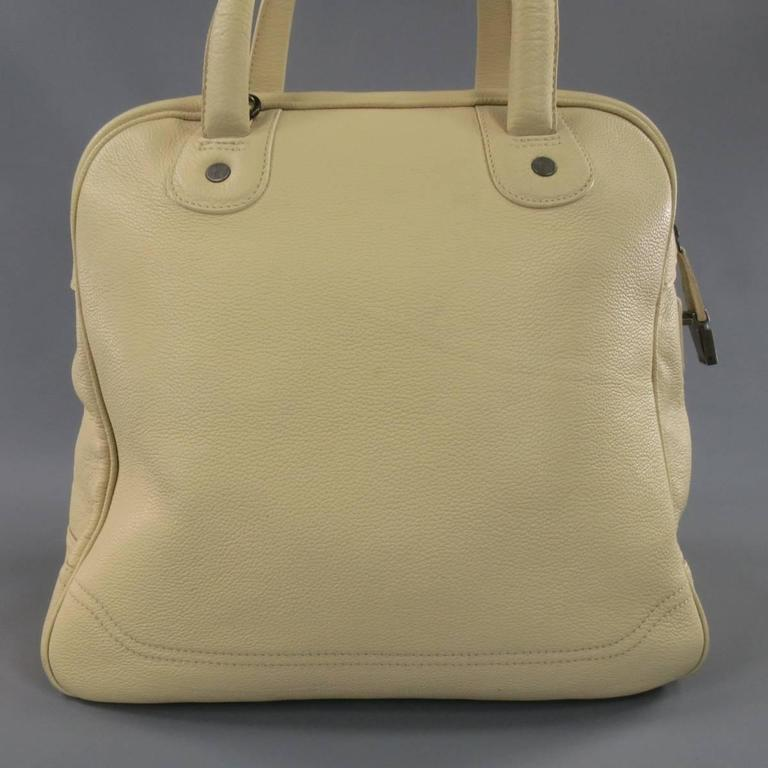 Giorgio Armani Beige Pebbled Leather Large Top Handles Lock Bag For Sale 3