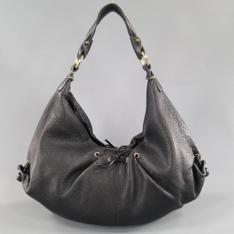 BOTTEGA VENETA Black Leather Gold Grommet Hoop Hobo Bag 4