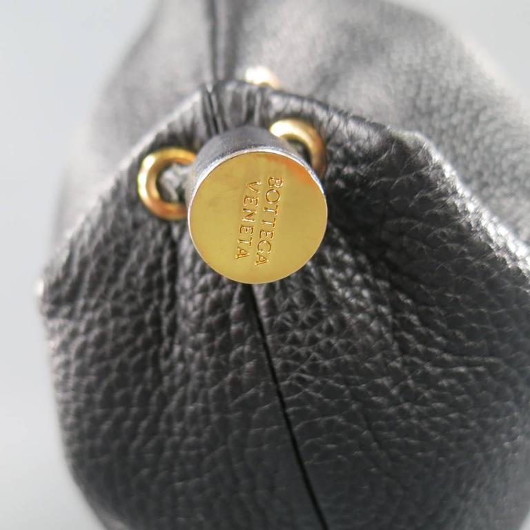 BOTTEGA VENETA Black Leather Gold Grommet Hoop Hobo Bag 5