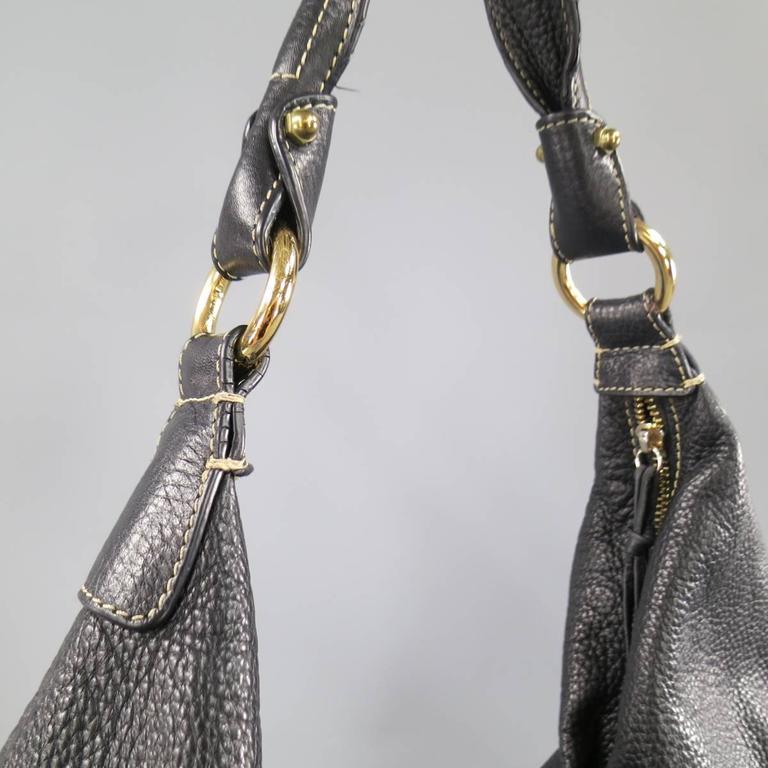 BOTTEGA VENETA Black Leather Gold Grommet Hoop Hobo Bag 6