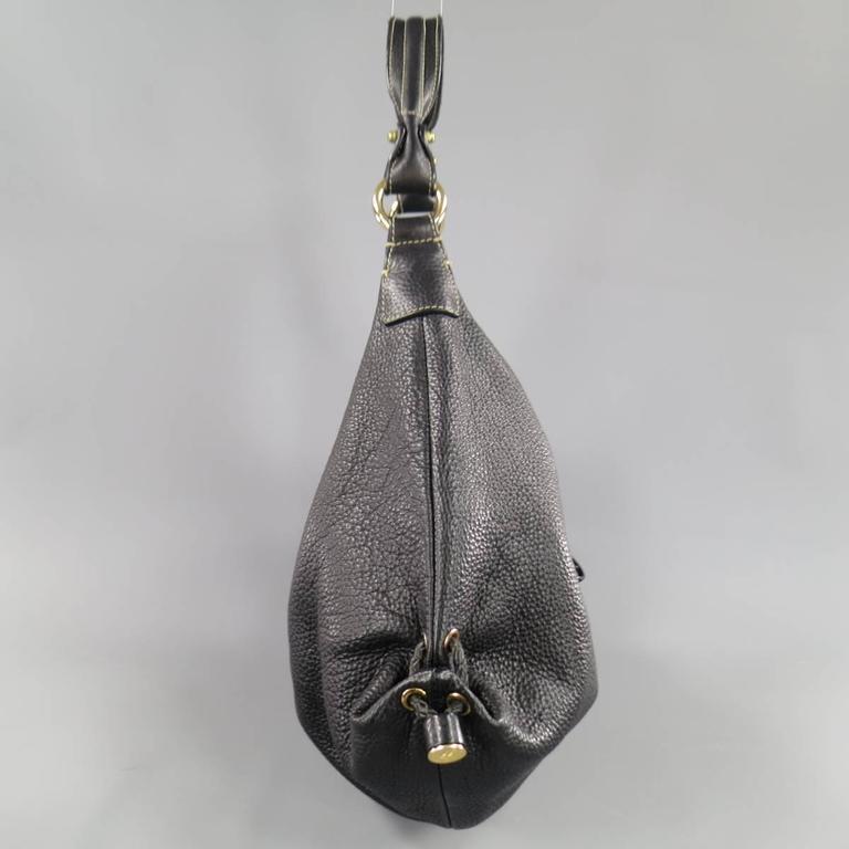 BOTTEGA VENETA Black Leather Gold Grommet Hoop Hobo Bag 7