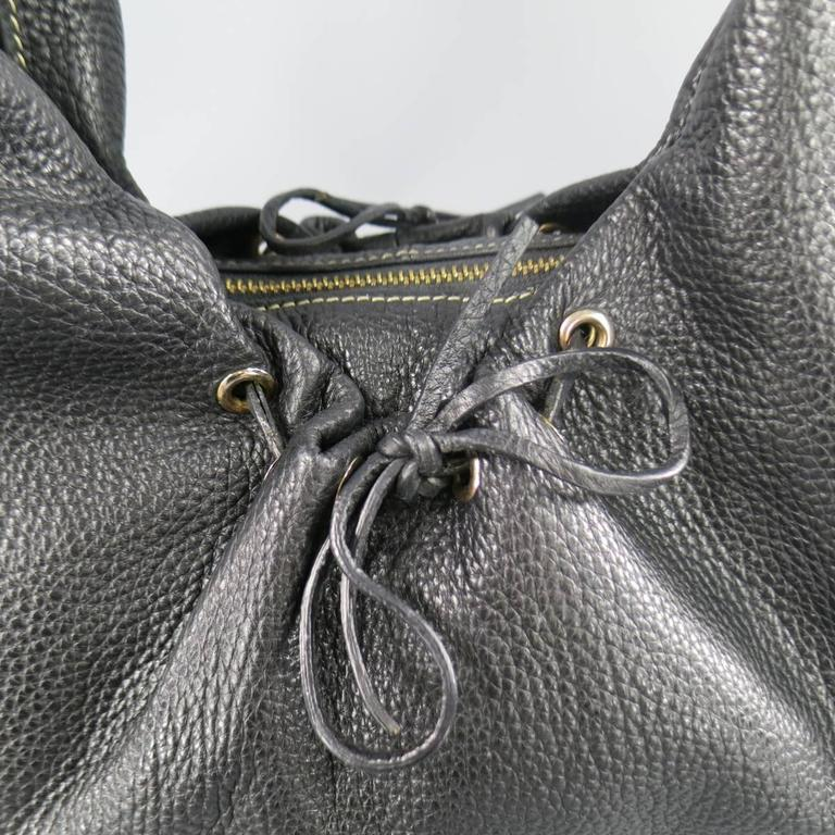 BOTTEGA VENETA Black Leather Gold Grommet Hoop Hobo Bag 2