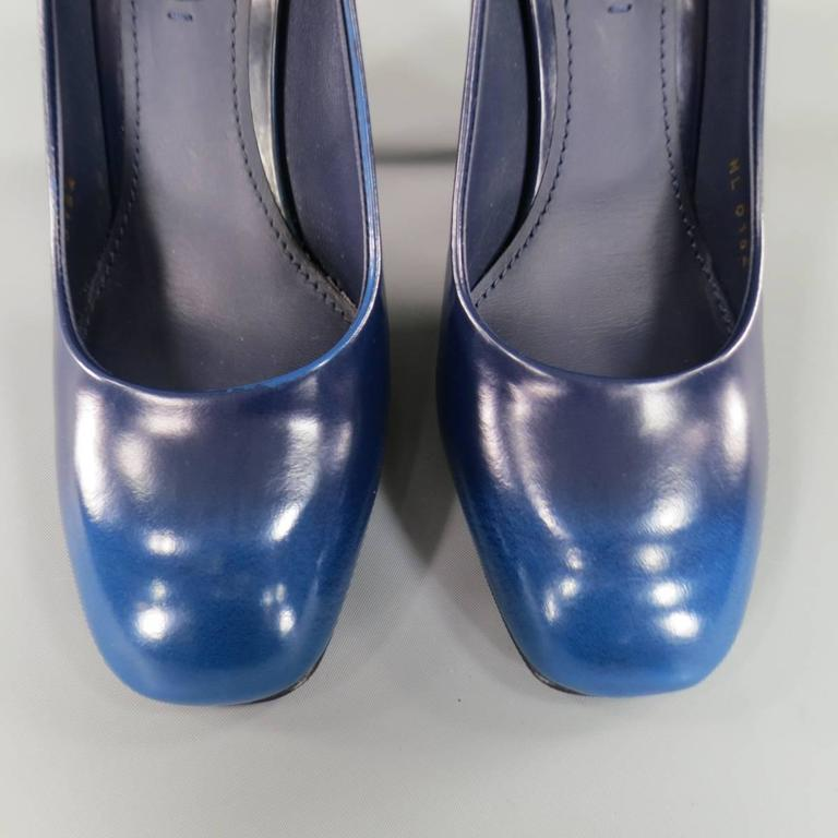 Louis Vuitton Size 7 Navy Blue Ombre Leather Flat Heel