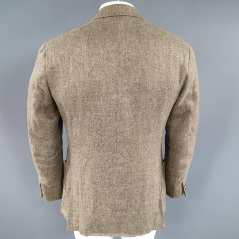 Men's LORO PIANA 38 Regular Light Taupe Brown Nailhead Linen Flax Sport Coat For Sale 4