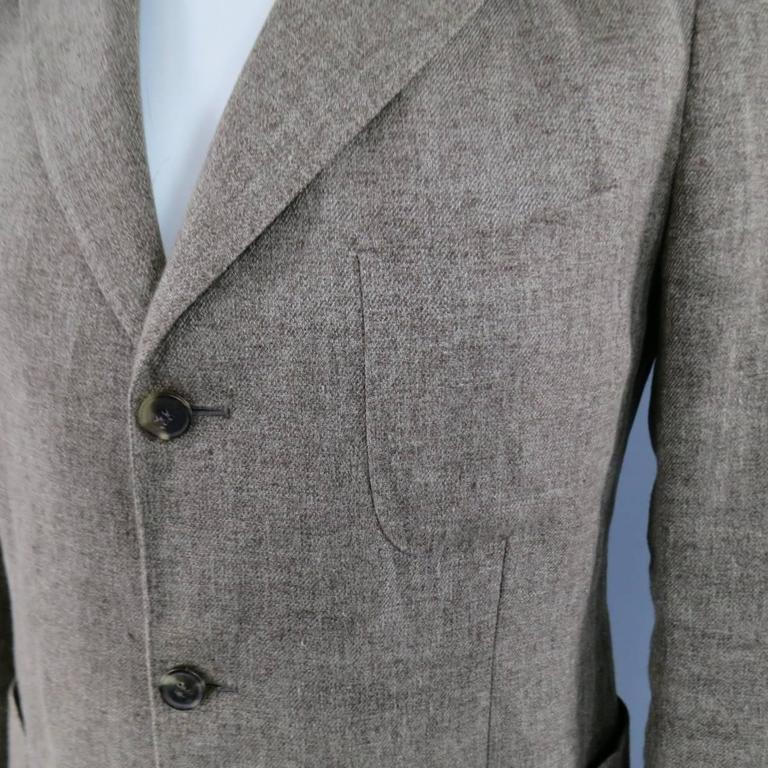 Men's LORO PIANA 38 Regular Light Taupe Brown Nailhead Linen Flax Sport Coat In Excellent Condition For Sale In San Francisco, CA
