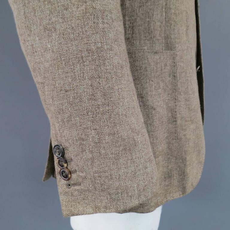 Men's LORO PIANA 38 Regular Light Taupe Brown Nailhead Linen Flax Sport Coat For Sale 3