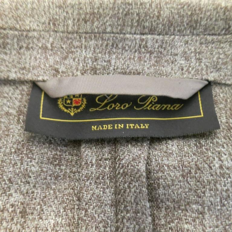 Men's LORO PIANA 38 Regular Light Taupe Brown Nailhead Linen Flax Sport Coat For Sale 5