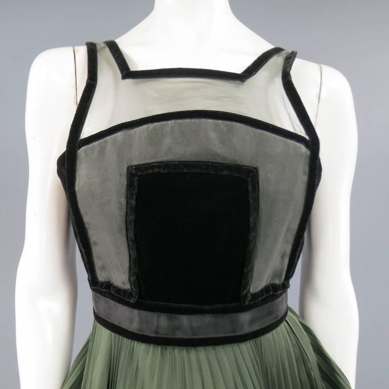 CHRISTOPHER KANE Fall 2009 Size 2 Olive & Black Pleated Silk Velvet Trim Dress 2