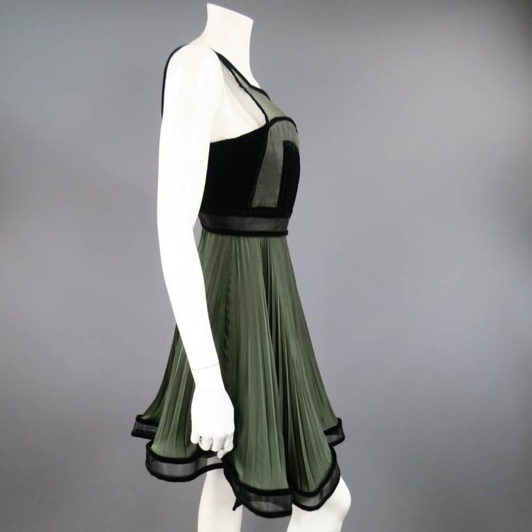 CHRISTOPHER KANE Fall 2009 Size 2 Olive & Black Pleated Silk Velvet Trim Dress 7