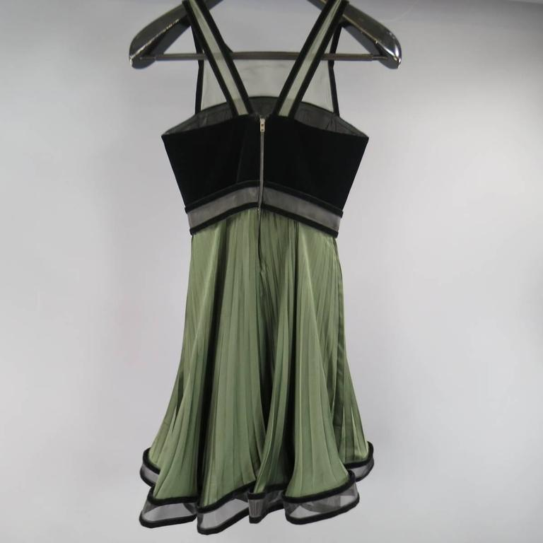CHRISTOPHER KANE Fall 2009 Size 2 Olive & Black Pleated Silk Velvet Trim Dress 8