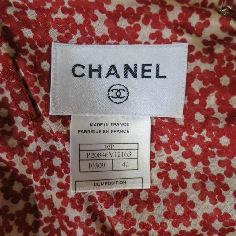 CHANEL Size 10 Red & Beige Floral Cotton Ruffled Hem Slip Dress Spring 2003 For Sale 3