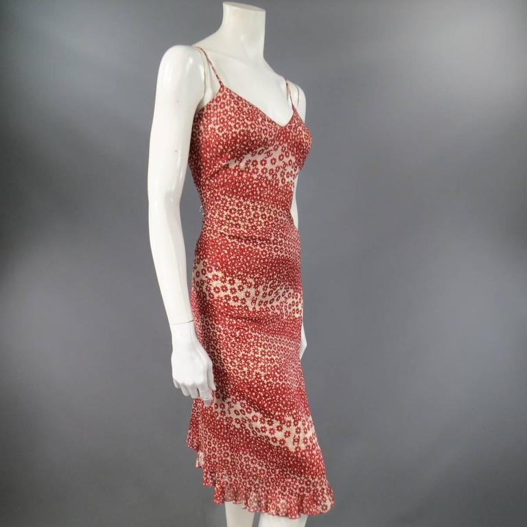 Women's CHANEL Size 10 Red & Beige Floral Cotton Ruffled Hem Slip Dress Spring 2003 For Sale