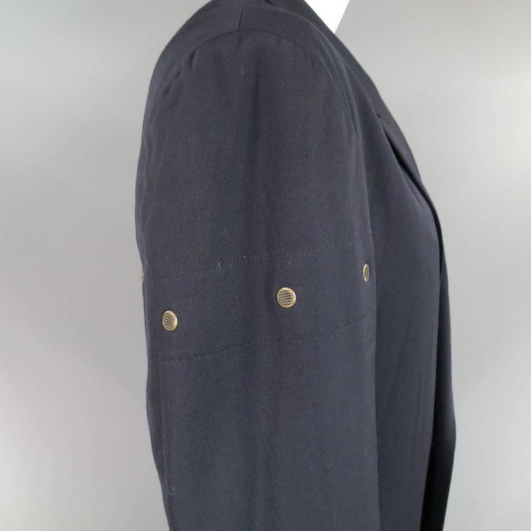 Men's Yohji Yamamoto M Navy Oversized Peak Lapel Double Breasted Vented Sport Coat For Sale