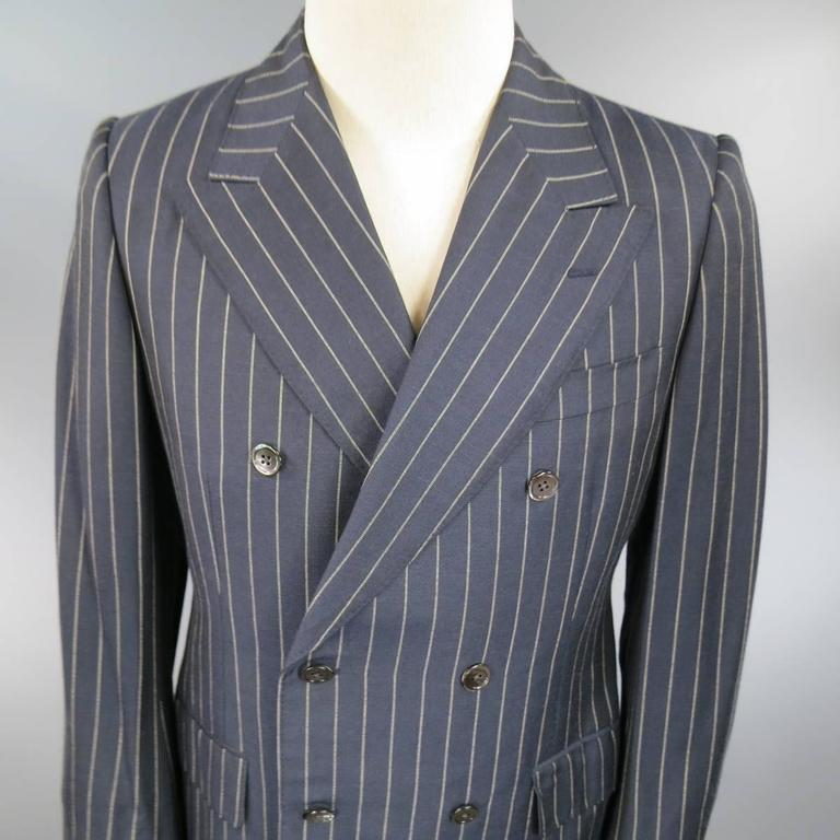 Prada 38 Regular Navy Pinstripe Peak Lapel Double Breasted Sport Coat 2