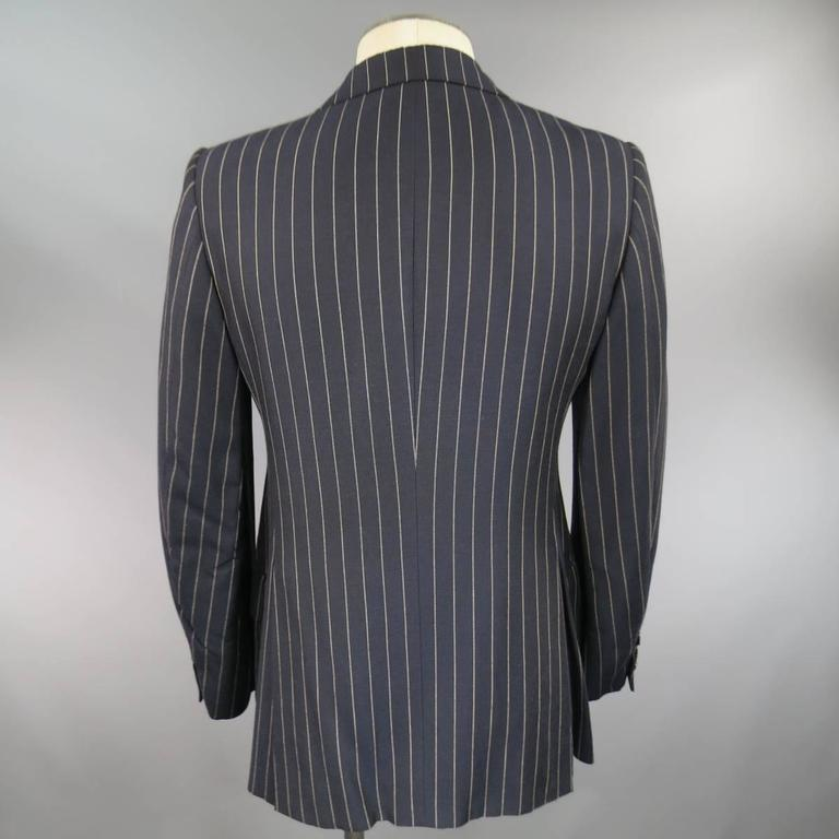 Prada 38 Regular Navy Pinstripe Peak Lapel Double Breasted Sport Coat 5