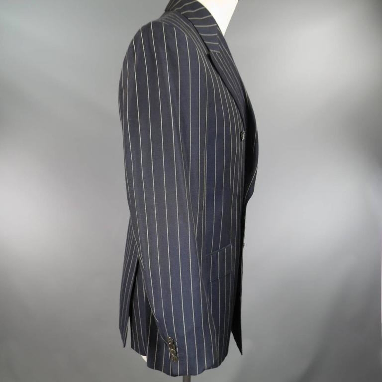 Prada 38 Regular Navy Pinstripe Peak Lapel Double Breasted Sport Coat 4