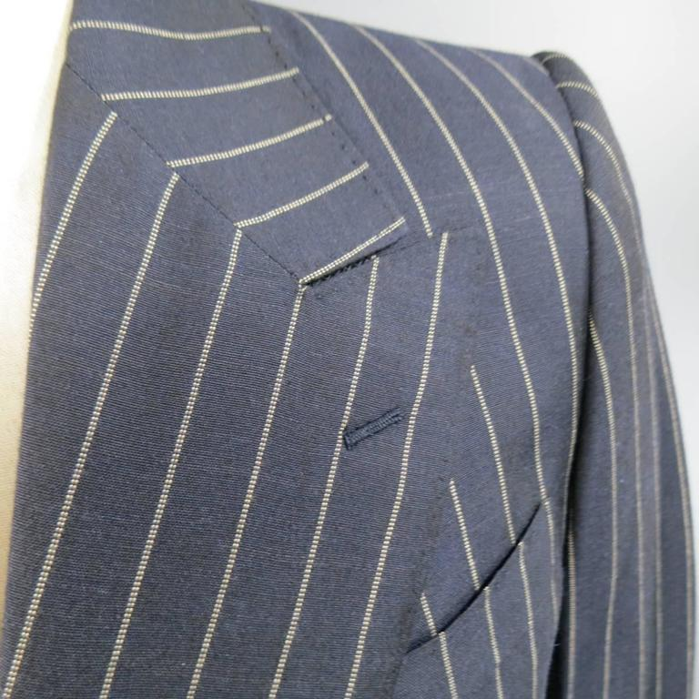 Prada 38 Regular Navy Pinstripe Peak Lapel Double Breasted Sport Coat 3