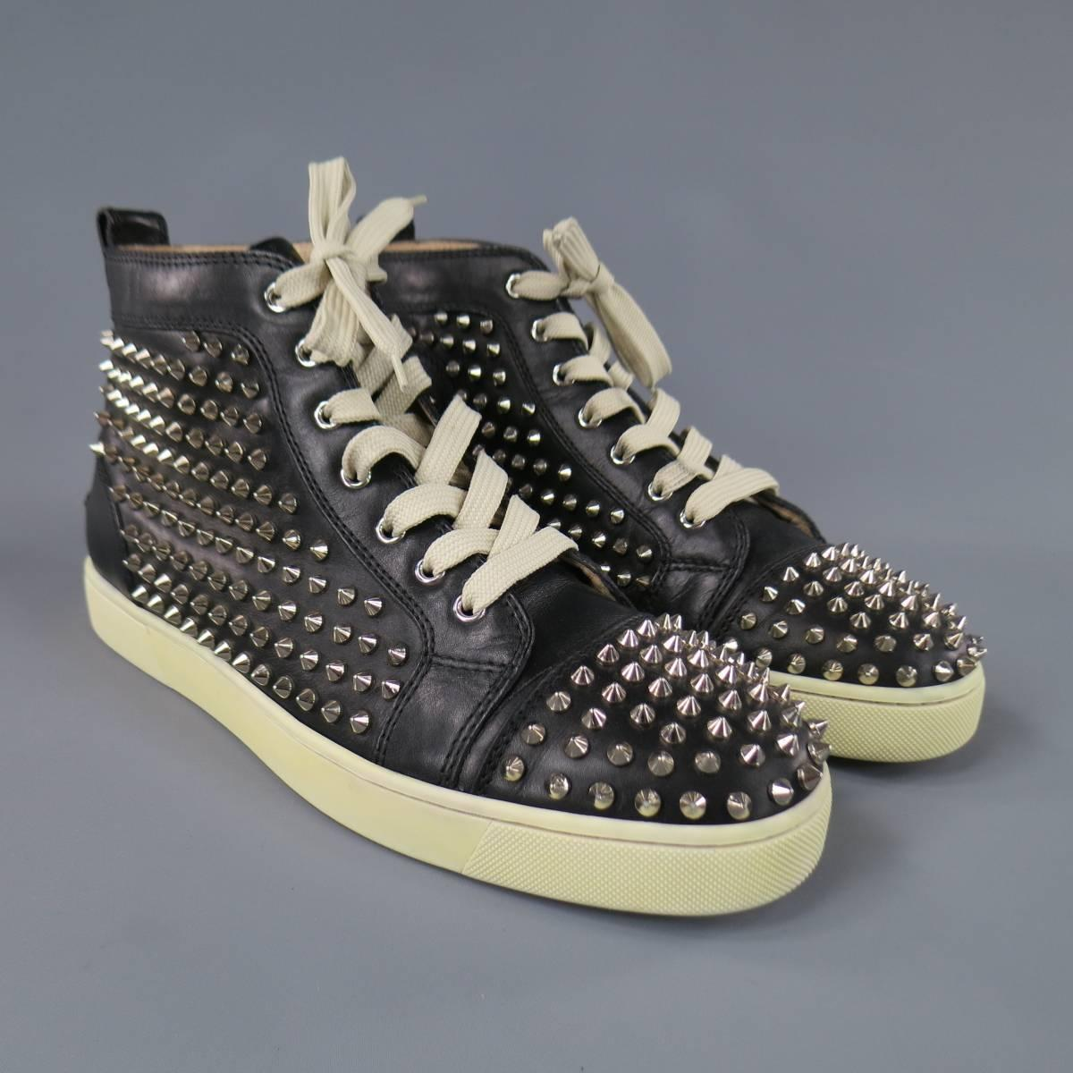 Men S Christian Louboutin Size 11 Black Leather Silver