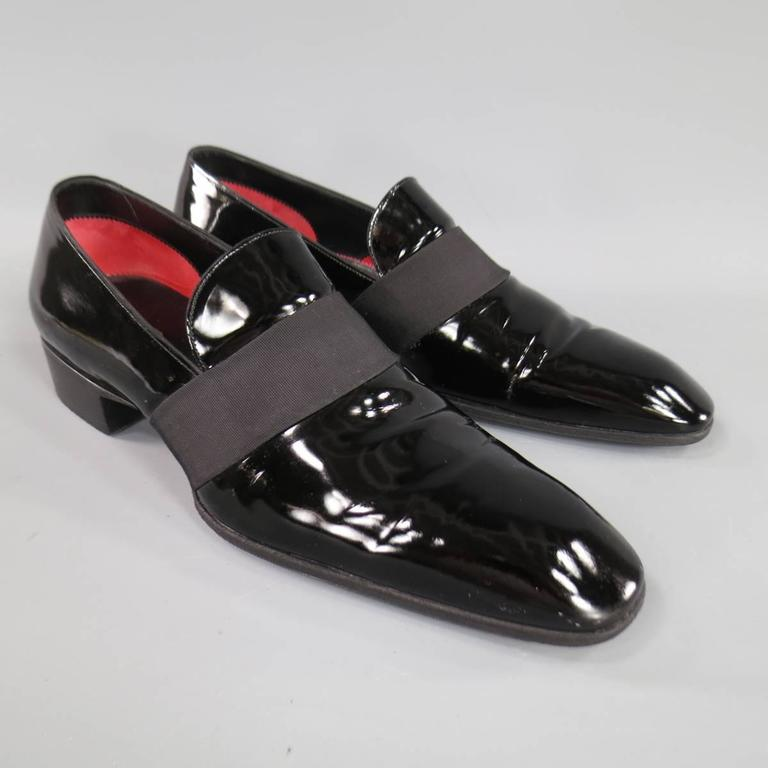 Men S Tom Ford Size 9 Black Patent Leather Ribbon Band Tuxedo Loafers In Excellent Condition For