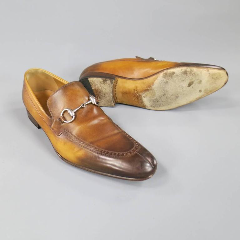 072f1e49f46 Men s GUCCI Size 9 Distressed Tan Brown Leather Horsebit Loafers For Sale 1
