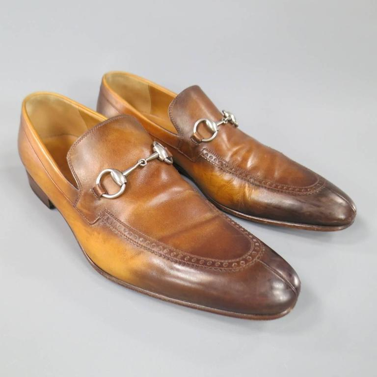 826206b2a86 Classic Men s GUCCI slip on loafers in unique multi tonal distressed tan to brown  gradient effect