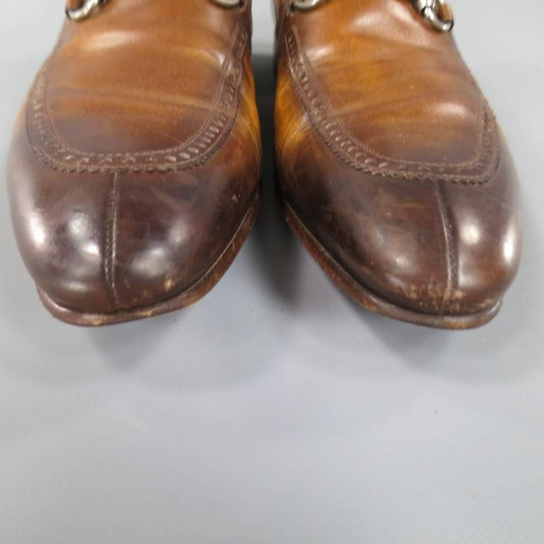 08114592e8c Men s GUCCI Size 9 Distressed Tan Brown Leather Horsebit Loafers For Sale 2