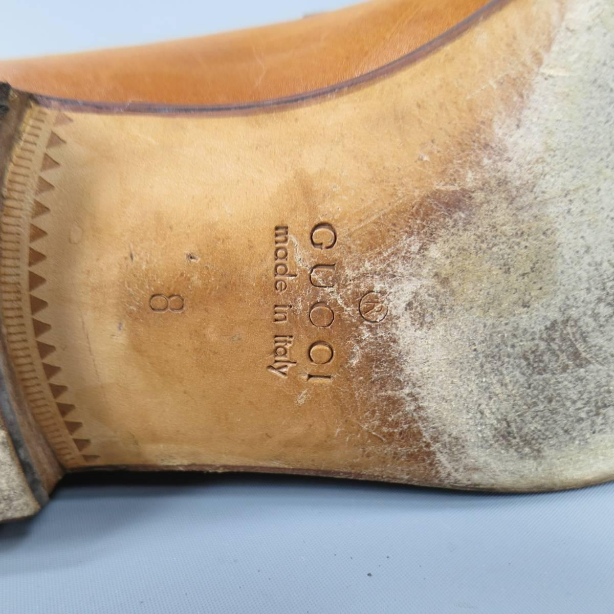 b1234f28718 Men s GUCCI Size 9 Distressed Tan Brown Leather Horsebit Loafers at 1stdibs