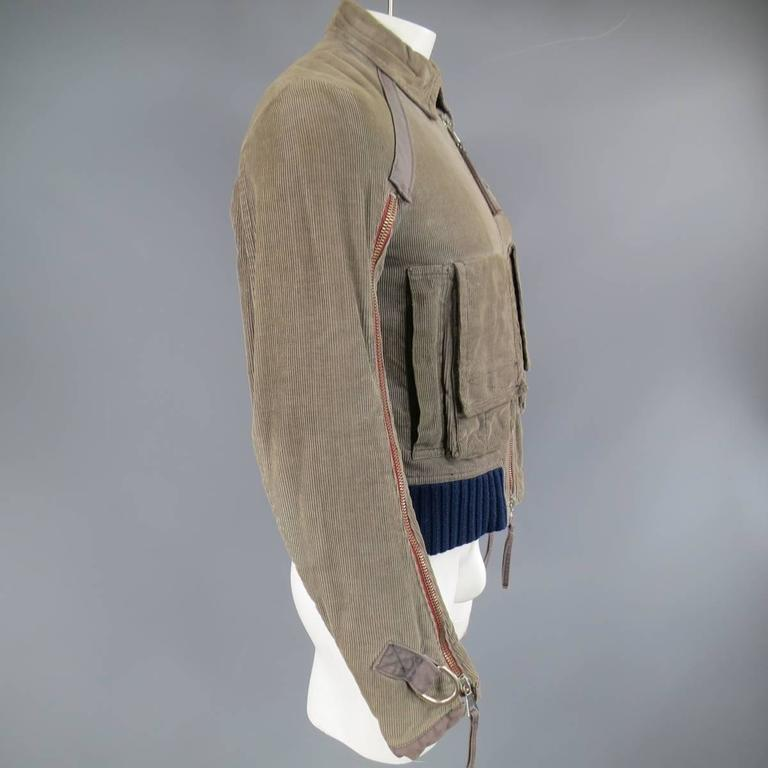 Men's DSQUARED2 38 Distressed Taupe Corduroy Cropped Zip Bomber Jacket 6
