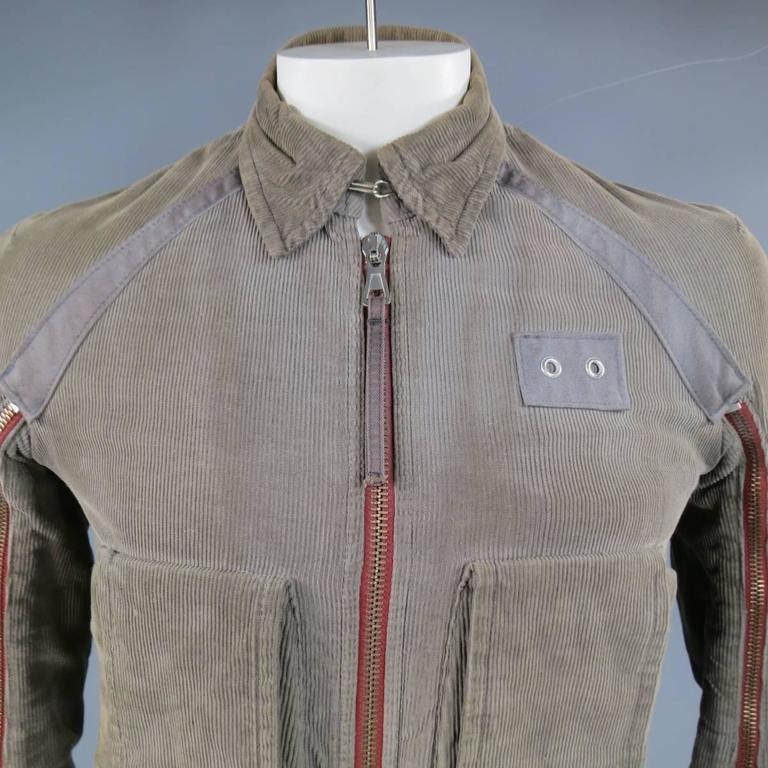 Men's DSQUARED2 38 Distressed Taupe Corduroy Cropped Zip Bomber Jacket 2