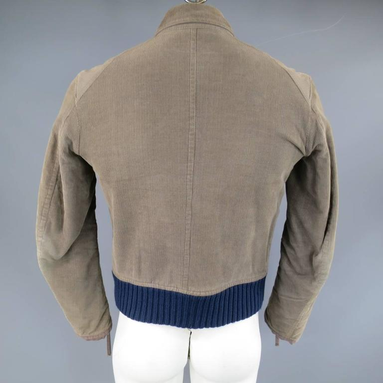 Men's DSQUARED2 38 Distressed Taupe Corduroy Cropped Zip Bomber Jacket 8